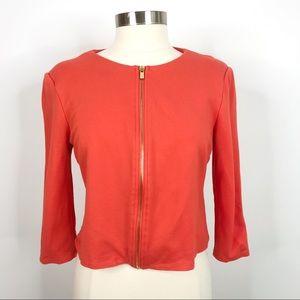 Philosophy Ponte Knit Zip Front Crop Blazer Orange